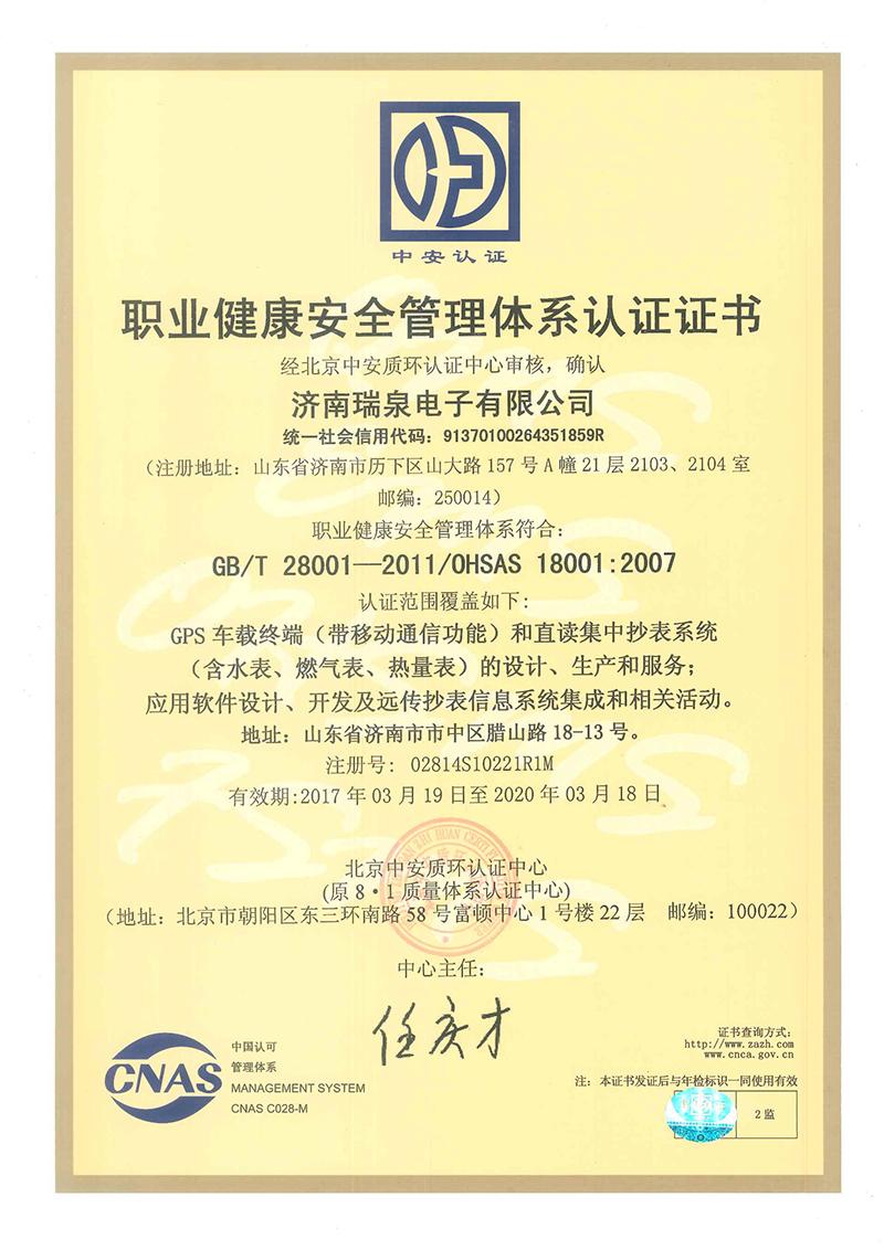 职业健康安全管理体系认证(中文正本)